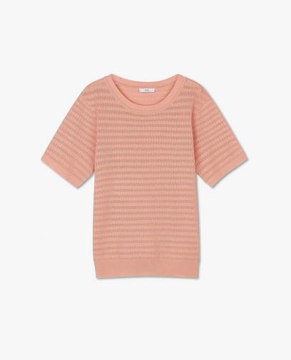 Top rose en fin tricot Sora