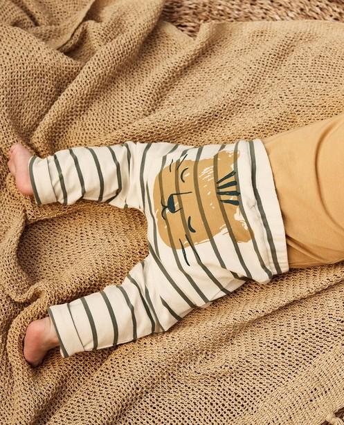 Pantalon écru à imprimé Minymo - et rayures - Minymo