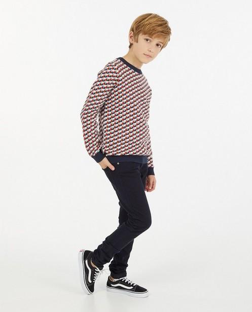 Pull en tricot à motif jacquard - bleu et blanc - Fish & Chips