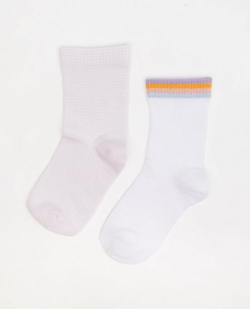 Lot de 2 paires de chaussettes - blanches et roses - JBC
