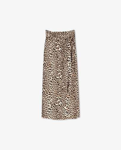 Jupe portefeuille à imprimé léopard Sora
