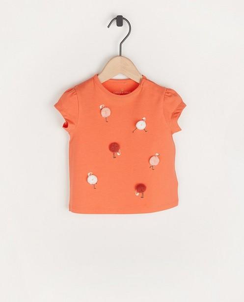 Roze T-shirt met flamingoprint - van biokatoen - Cuddles and Smiles