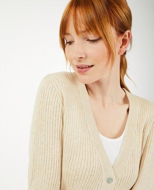 Cardigan en tricot à relief côtelé Youh! - beige ou rose - YOUH!