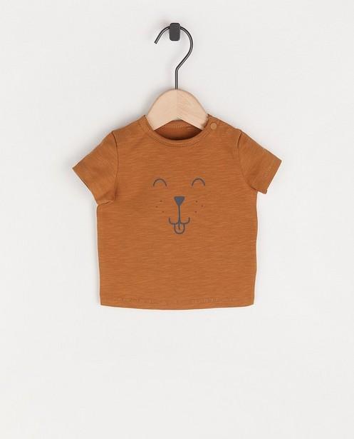 Bruin T-shirt met hondenprint - van biokatoen - Newborn