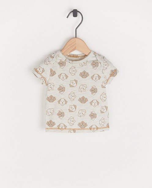 Gemêleerd T-shirtje met hondenprint - lichtgrijs - Newborn
