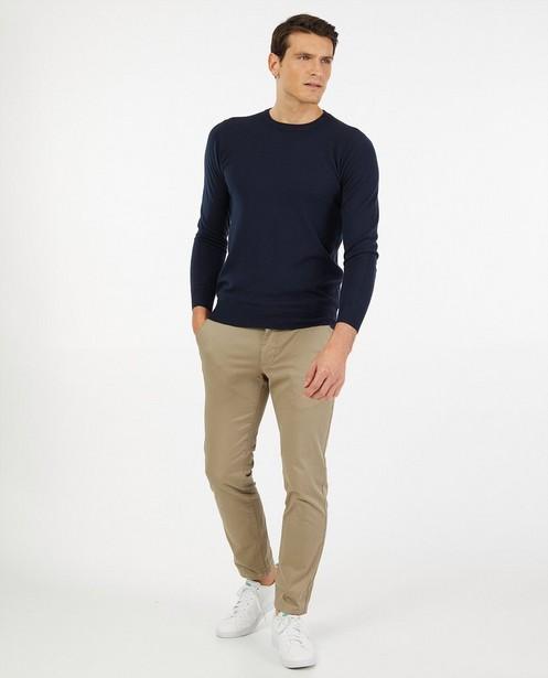 Dunne blauwe trui - Zacht gebreid materiaal - Indeed