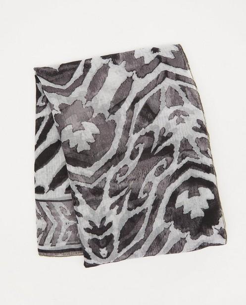 Zwart-grijze sjaal met print - met gouden boord - JBC