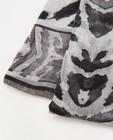 Breigoed - Zwart-grijze sjaal met print