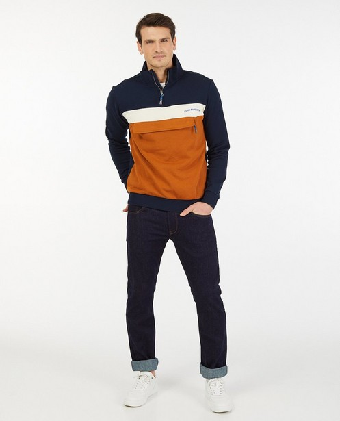 Color block sweater met zak Baptiste - met opstaande halskraag - Baptiste
