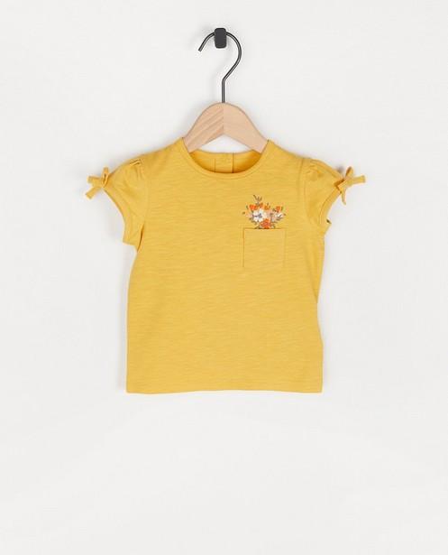 T-shirt ocre à petites fleurs - brodé - Cuddles and Smiles