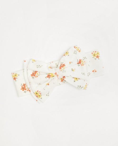 Witte haarband met strik - en bloemenprint - Cuddles and Smiles