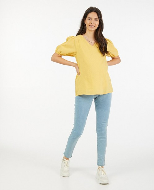 Gele katoenen blouse JoliRonde - met speciale print - Joli Ronde