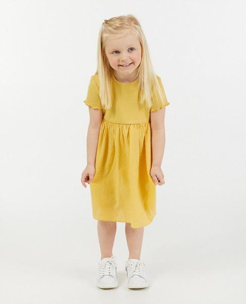 Gele katoenen combi-jurk met rib - en stippen - Milla Star