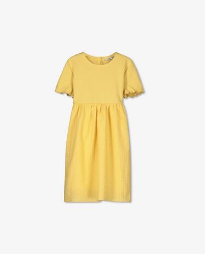 Robe combi jaune en coton côtelé