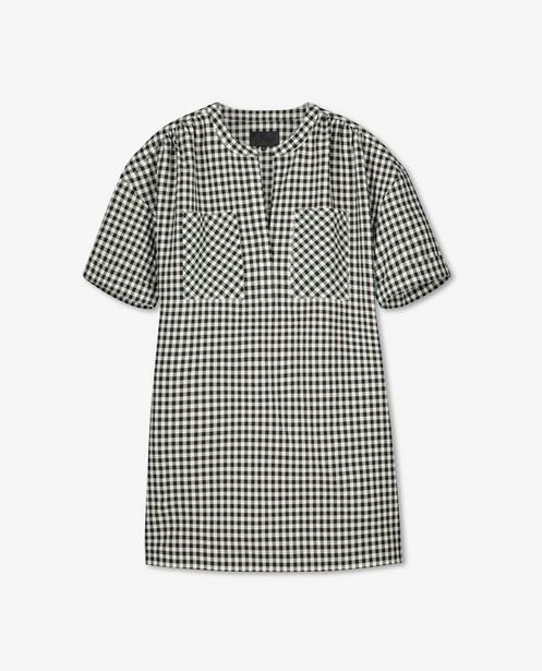Robe noire et blanche à carreaux - poches de poitrine - Sora