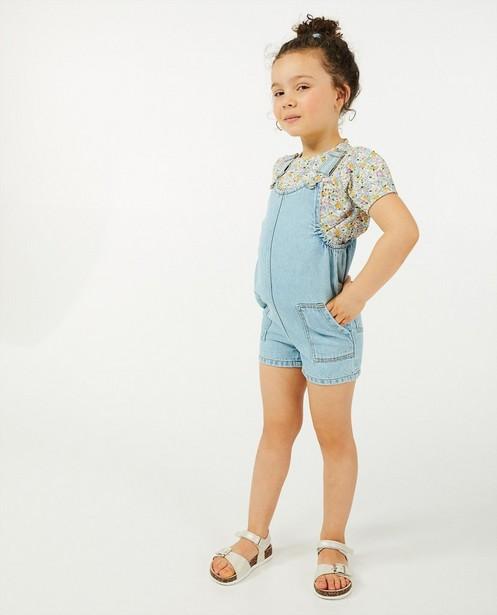 Lichtblauwe jeanssalopette - kort model - Milla Star