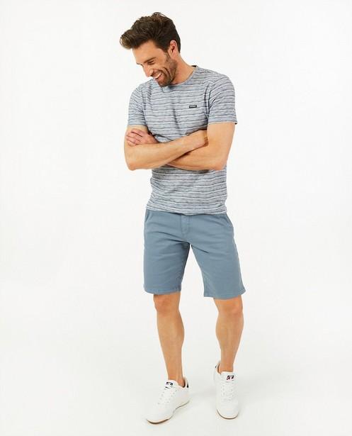 Biokatoenen T-shirt met strepen - blauw-wit - Quarterback
