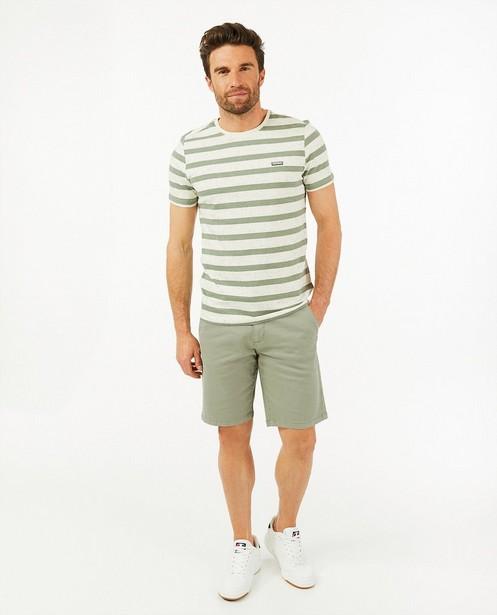 Offwhite T-shirt met strepen - van biokatoen - Quarterback
