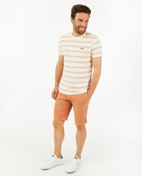 Offwhite T-shirt van biokatoen - met strepen - Quarterback