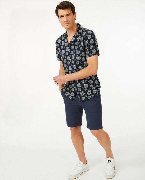 Blauw hemd met print - met korte mouwen - Quarterback