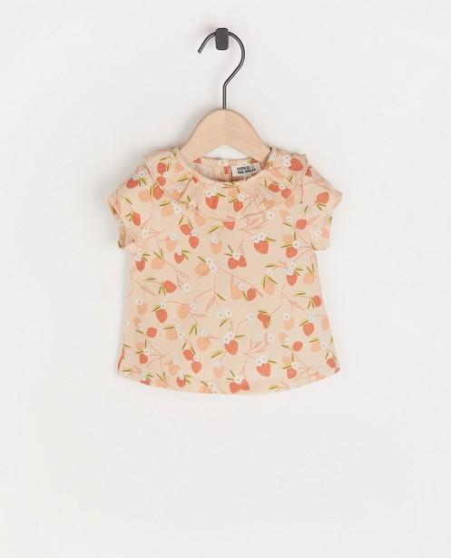Top rose à imprimé à fraises - et volant - Newborn