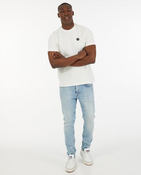 Wit T-shirt met reliëfpatroon - allover - Quarterback