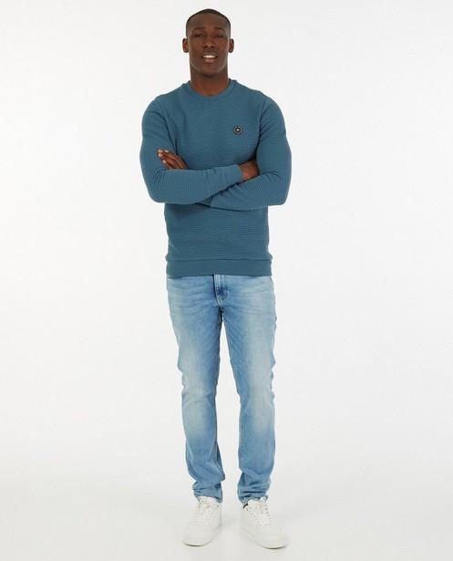 Blauwe sweater met reliëfpatroon - allover - Quarterback
