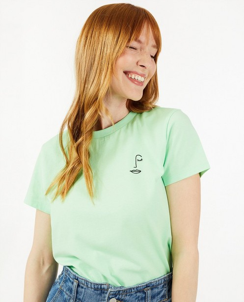 Biokatoenen T-shirt met borduursel Sora - in groen - Sora