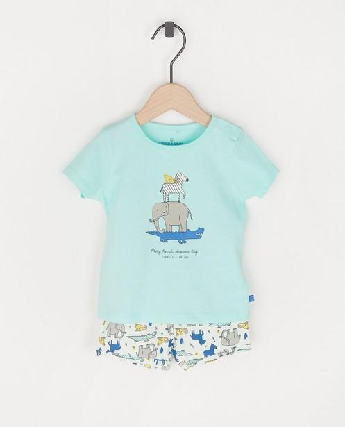 Mintgroene pyjama met print - tweedelig - Cuddles and Smiles