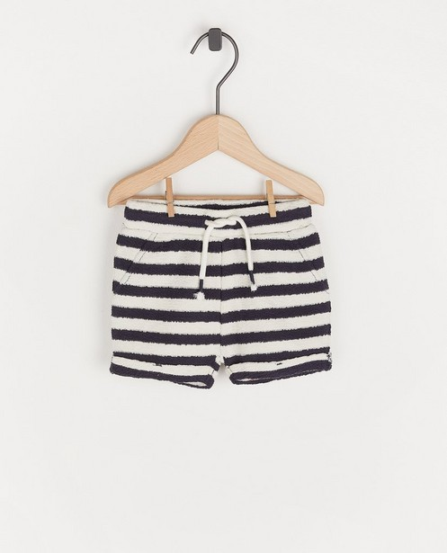 Short blanc à rayures bleues - et structure - Cuddles and Smiles