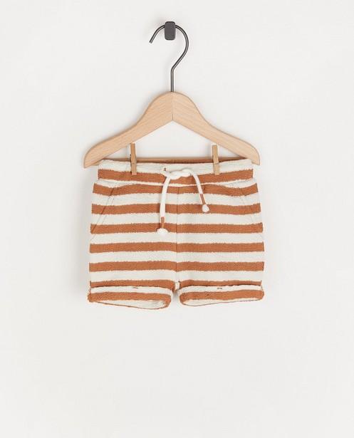 Short blanc à rayures brunes - et structure - Cuddles and Smiles
