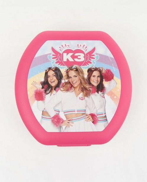 Roze koekendoosje met print K3 - met clipsluiting - K3