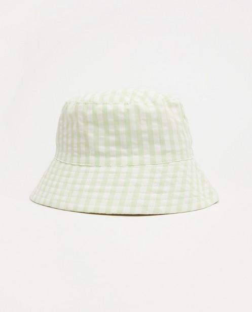 Wit-groen hoedje Atelier Bossier, kids - met ruiten - Atelier Bossier