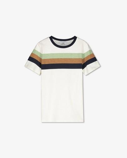 Offwhite T-shirt met strepen, 8-15 jaar