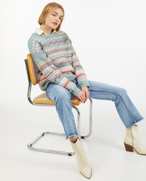 Gebreide trui met ajour en kleur - fijn gebreid - Ella Italia