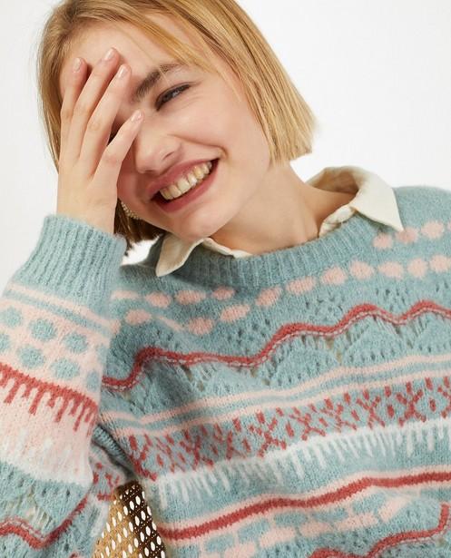 Truien - Gebreide trui met ajour en kleur