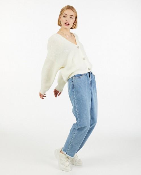 Cardigan blanc avec des boutons décoratifs - fin tricot - Ella Italia