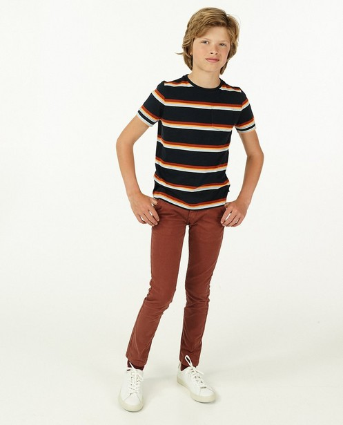 Chino brun rouge, 9-15 ans - avec du stretch - Fish & Chips