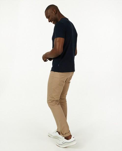 Biokatoenen T-shirt in blauw - effen - Quarterback