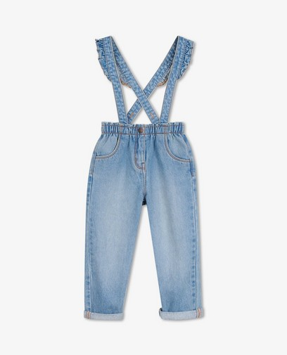 Jeans bleu clair à bretelles