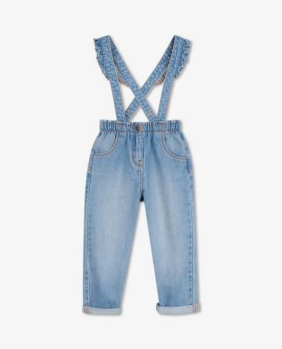 Lichtblauwe jeans met bretellen