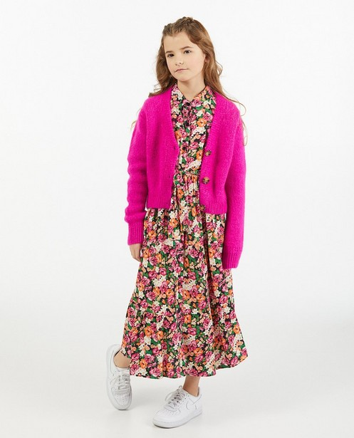 Fuchsia cardigan Amy-Rose, 7-14 jaar - gebreid - Amy-Rose