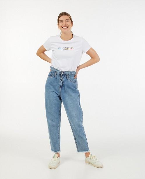 Wit 'Gelijk nen Echte'-T-shirt, dames - Kom op tegen Kanker - Kom op tegen Kanker