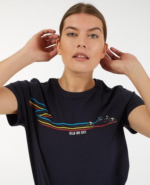 Blauw 'Gelijk nen Echte'-T-shirt, dames - met print - Kom op tegen Kanker