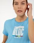 T-shirt bleu «Gelijk nen Echte», femmes - Kom op tegen Kanker - Kom op tegen Kanker