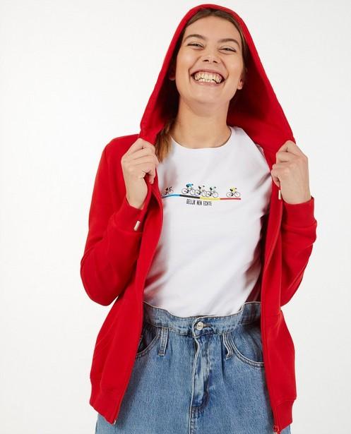 Rood 'Gelijk nen Echte'-sweatvest, dames - Kom op tegen Kanker - Kom op tegen Kanker
