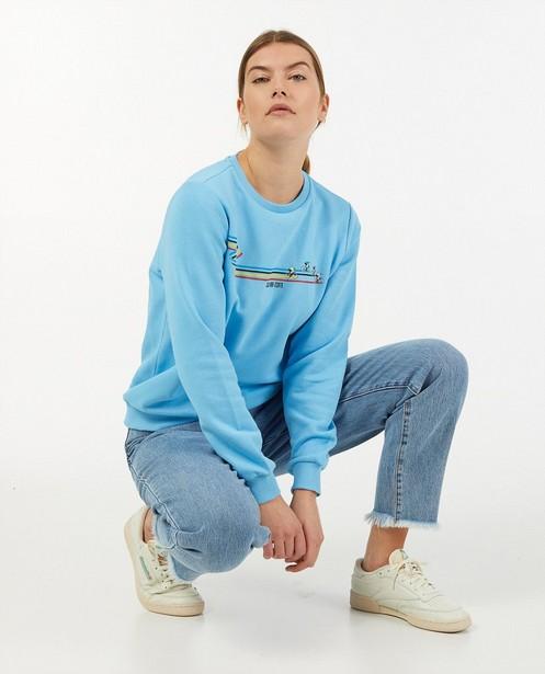 Blauwe 'Gelijk nen Echte'-sweater, dames - Kom op tegen Kanker - Kom op tegen Kanker