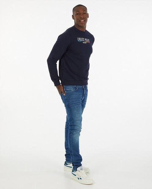 Blauwe 'Gelijk nen Echte'-sweater, heren - Kom op tegen Kanker - Kom op tegen Kanker