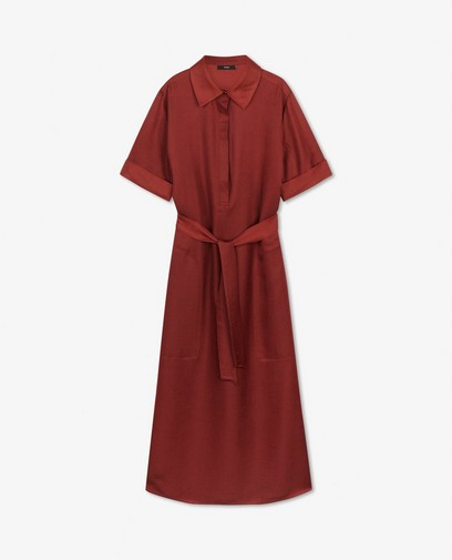 Satijnen jurk in bruin Sora