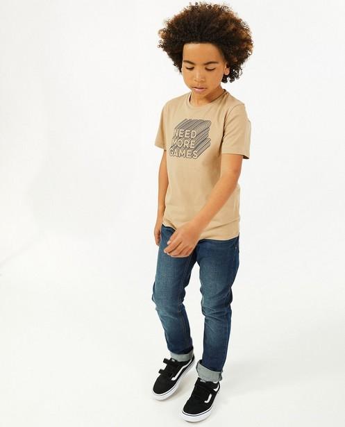Beige T-shirt met print BESTies - stretch - Besties
